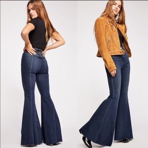 Free People CRVY High-Rise Lace-Up Flare Jeans